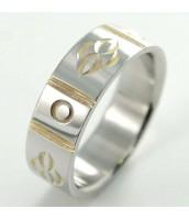 Oceľový prsteň bi-color - so vzorom 232813A