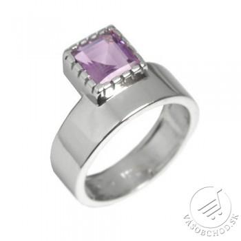 Strieborný luxusný prsteň s pravým Ametystom - RSG36208A