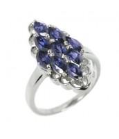 Strieborný prsteň s modrým iolitem RSG36352I