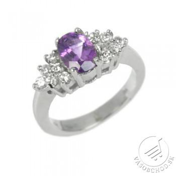 Elegantný strieborný prsteň s prírodným Ametystom JGFR0176