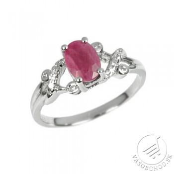 Strieborný elegantný prsteň s pravým Rubínom - JBR10