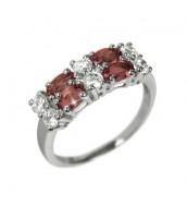 Dámsky prsteň s prírodným Granátom a zirkónmi RSG36087G
