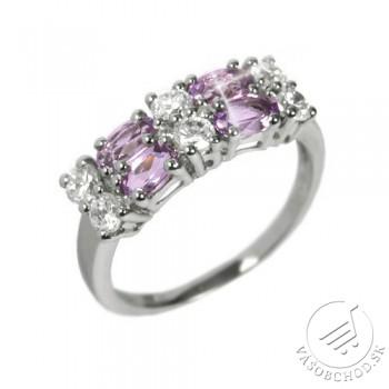 Dámsky prsteň s prírodným Ametystom a zirkónmi RSG36087A