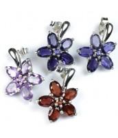 Strieborné náušnice kvety s drahými kameňmi ESG33444