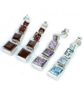 Strieborné náušnice štvorčeky s drahými kameňmi - ESG33447