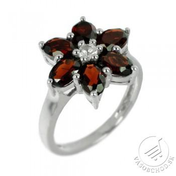 Strieborný prsteň v tvare kvetu s prírodným Granátom - RS-G36336