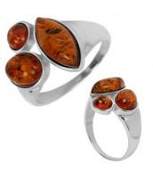 Originálny strieborný prsteň s pravým Jantárom - AAJR319