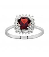 GIO Caratti štvorcový prsteň zo striebra s Granátom - FNJR1065-GA
