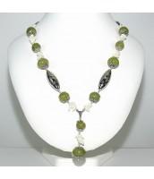 Náhrdelník s Jadeitom a perleťou - 62cm - 46-1N