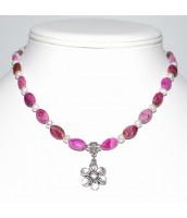 Náhrdelník s Achátom a perlami - kvetina- 54-1N