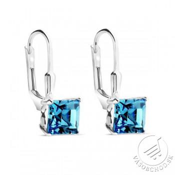 Strieborné náušnice kocky AQUAMARINE s Swarovski® Crystals - ZTJE354 ... 1347f028372