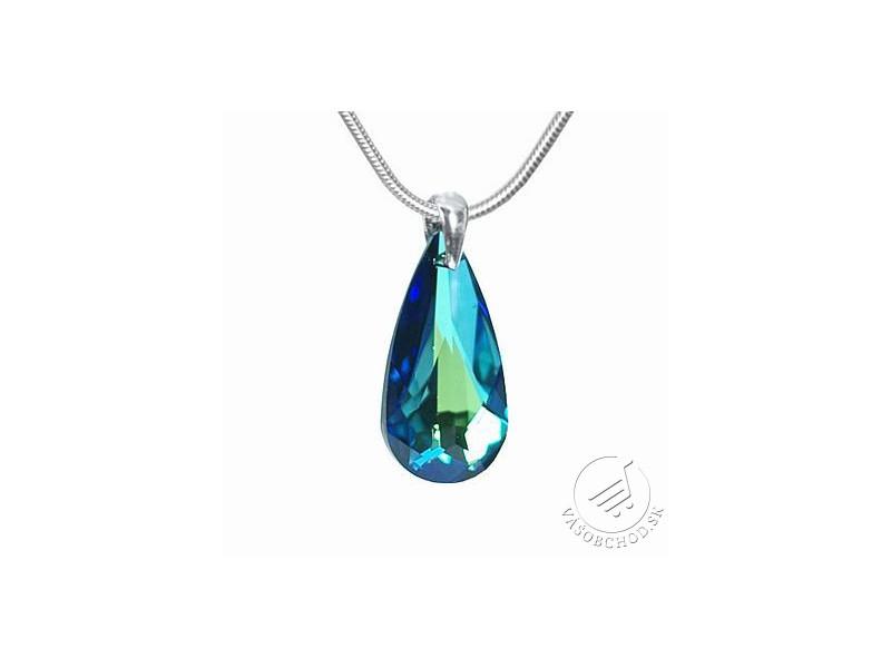 Strieborný prívesok Kvapka 24mm Bermuda Blue so Swarovski® Crystals -  LSW011P ... 0912c6f414a