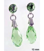 Náušnice z ocele so zeleným krištáľom Swarovski Elements - 290074Z