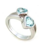 Strieborný prsteň srdiečka s Topásom - R0319