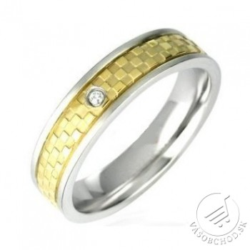 Oceľový prsteň zlátený so zirkónom - RRT012