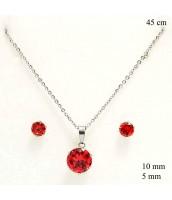 Súprava šperkov z ocele s červeným zirkónom - 237151CER