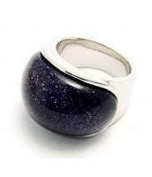 Oceľový prsteň s modro-čiernym kameňom 233692A