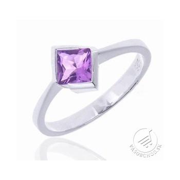 Strieborný prsteň s fialovým zirkónom - SRS071
