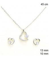 Súprava šperkov z ocele srdiečko so zirkónom - 237453
