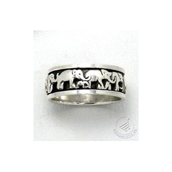 Strieborný prsteň - slony - 1-139-63