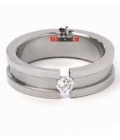 Oceľový prsteň so zirkónom R1548-H