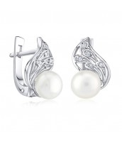Strieborné náušnice s bielou pravou prírodnou perlou GENEVIE - FNJE0778-PR