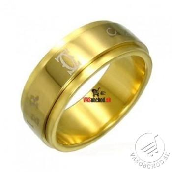 Oceľový prsteň zlátený - otáčavý