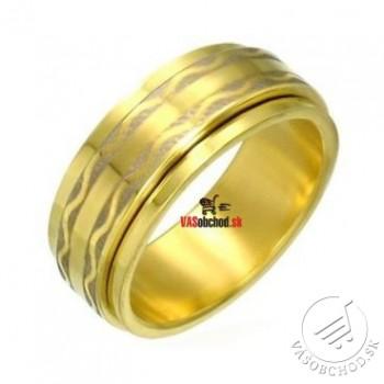 Oceľový prsteň zlátený - otáčavý - RSG018