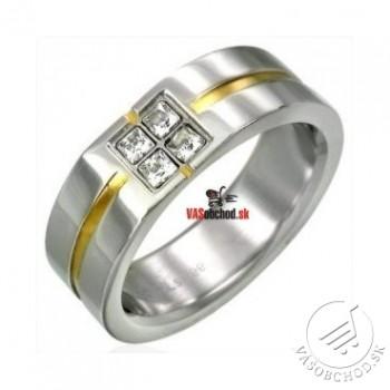 Oceľový prsteň so zirkónmi - bi-color - RAH032