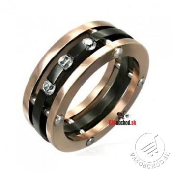 Oceľový prsteň so zirkónmi - VRD034BA
