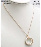 Oceľový náhrdelník s bielou keramikou 237714B