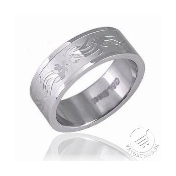 Oceľový prsteň so vzorom R3608-H