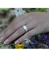 Oceľový prsteň leštený so zirkónmi