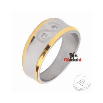 Oceľový prsteň so zirkónmi čiastočne zlátený