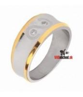 Oceľový prsteň so zirkónmi čiastočne zlátený - R1404-H