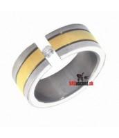 Oceľový prsteň so zirkónom - zlátený R1412-H