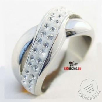Oceľový prsteň so zirkónmi 233200A