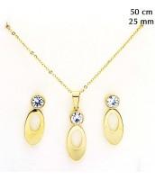 Zlátá oceľová súprava šperkov so zirkónom 237728