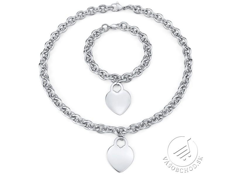 f6eeb0160 Set šperkov pre ženy z chirurgickej ocele náhrdelník a náramok s príveskom  srdce KMMS50266 ...
