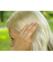 Strieborný prsteň so zirkónmi - R0577