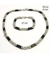 Oceľová súprava šperkov čierno-strieborná - 237535
