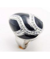 Oceľový prsteň so smaltom a zirkónmi - 233730A