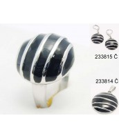 Oceľový prsteň s čiernym smaltom - 233839A
