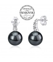 Strieborné náušnice s perlou Swarovski® 10mm vo farbe Tahiti čierna - YO10380PB