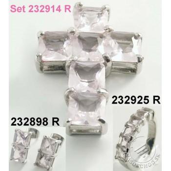 Prívesok z ocele KRÍŽ s ružovými kamienkami 232897R