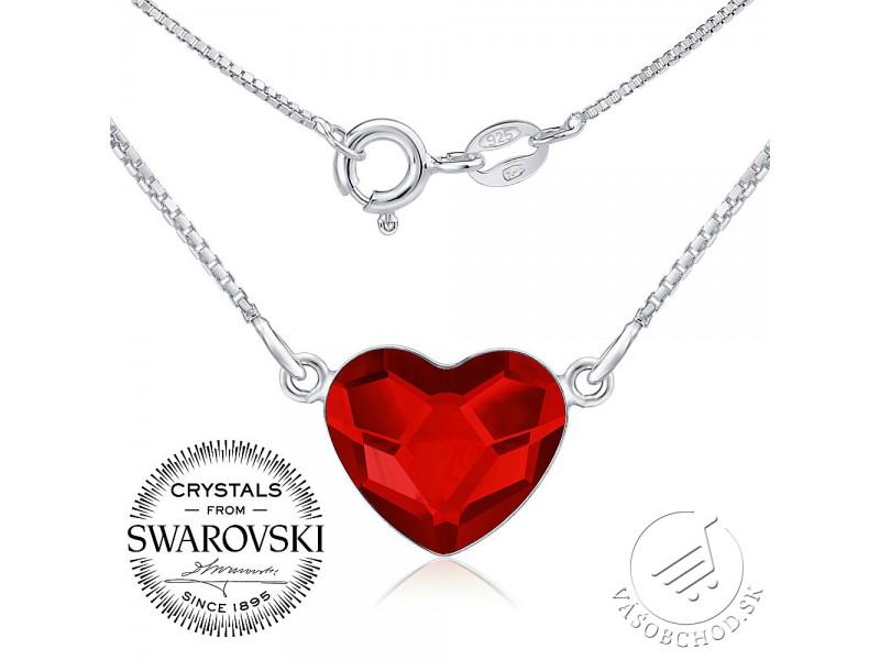 Strieborný náhrdelník so Swarovski® Crystals - červené srdce ... 20014dd4cbb
