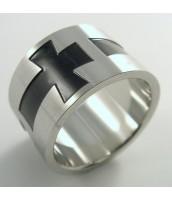 Oceľový prsteň kríž 232460B