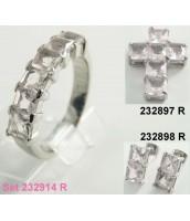 Prsteň z ocele s ružovými zirkónmi 232925A