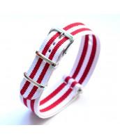 Textilný červeno-biely remienok na hodinky 20 mm