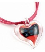 Náhrdelník srdce sklenené červeno-čierne LC014-PH